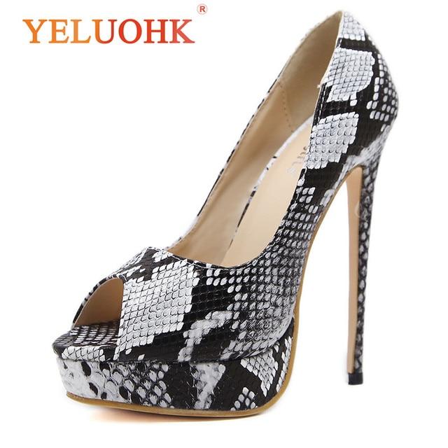 c902952d38ab Peep Toe Platform Shoes Women Heels 15 CM Sexy Extreme High Heels Shoes  Snake Style Women