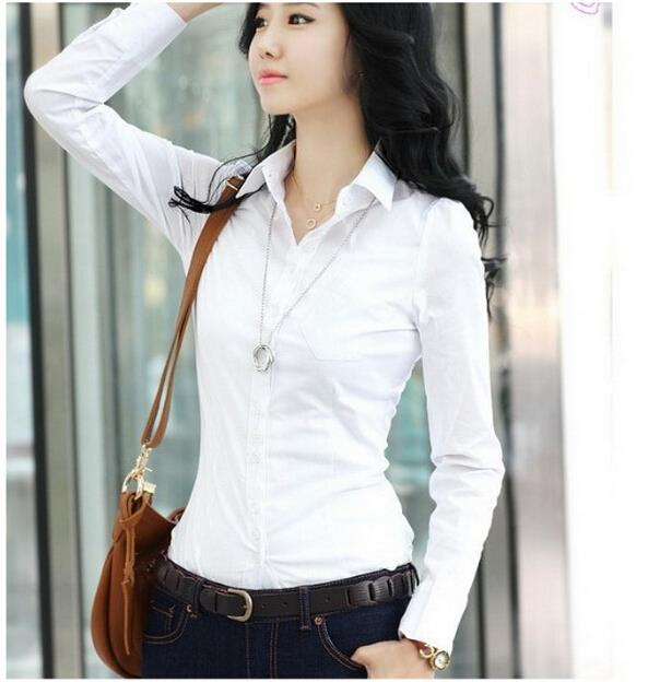 Women's Long Sleeve Office Tops Formal Work Shirts Lady's White ...