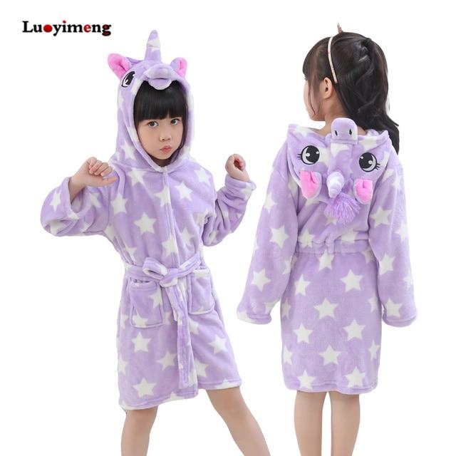 00809b44f4 Baby Animal Hooded Kids Bathrobe Winter Flannel Pajamas Sleepwear Girls  Unicorn Robe Cartoon Towel Bathing Suits
