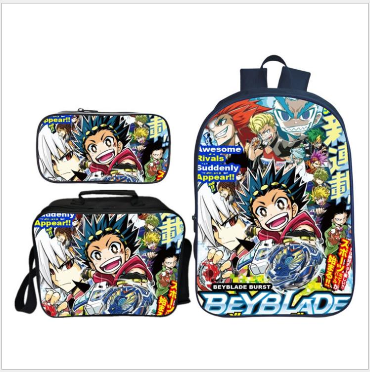 New Arrival 3Pcs/Set Anime BEYBLADE BURST Backpack School Bag For Teenagers Boy Bookbag Travel Rucksack Mochilas