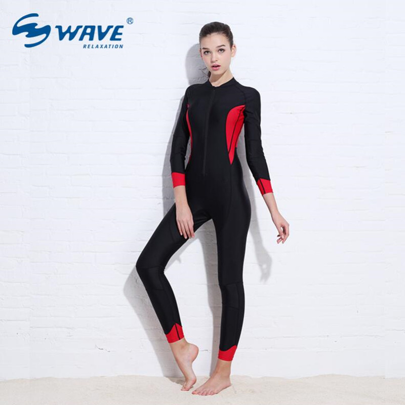 Wetsuit Conjoined Female Long Sleeve Sunscreen Zipper Aquatic Sports For Women Surfing Snorkeling Swimsuit Equipment Diving Suit