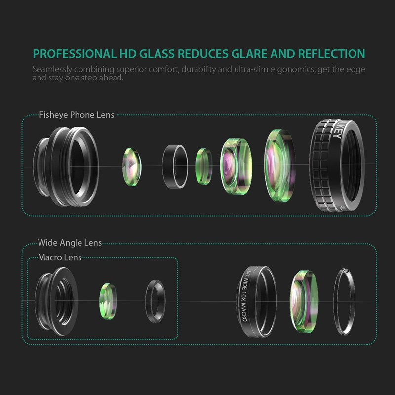 AUKEY 180 Degree Fisheye Lens + Wide Angle + Macro Lens 3in 1 Clip-on Cell Phone Camera Fish eye Lens for Xiaomi & other Device 8
