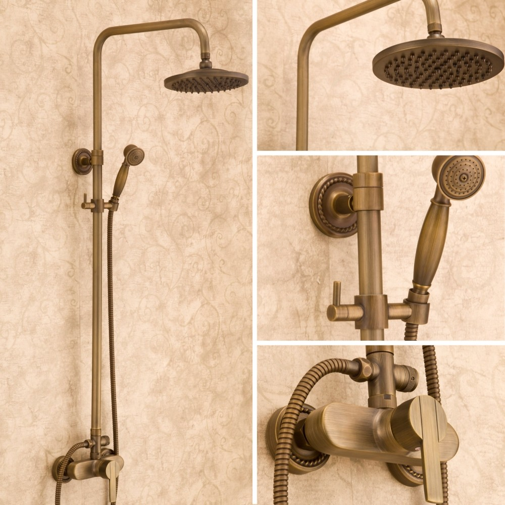 High Quality Luxury NEW Antique Brass Rainfall Shower Set Faucet + Tub Mixer Tap + Handheld Shower Wall Mounted XKX-7002