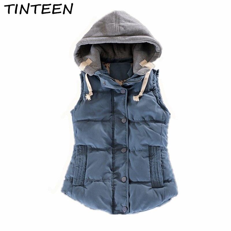 TINTEEN 2018 Winter Womens Vest Slim Cotton Waistcoat for Women Coletes Female Vest Jacket Coat Pink Warm Down Outerwear GC59