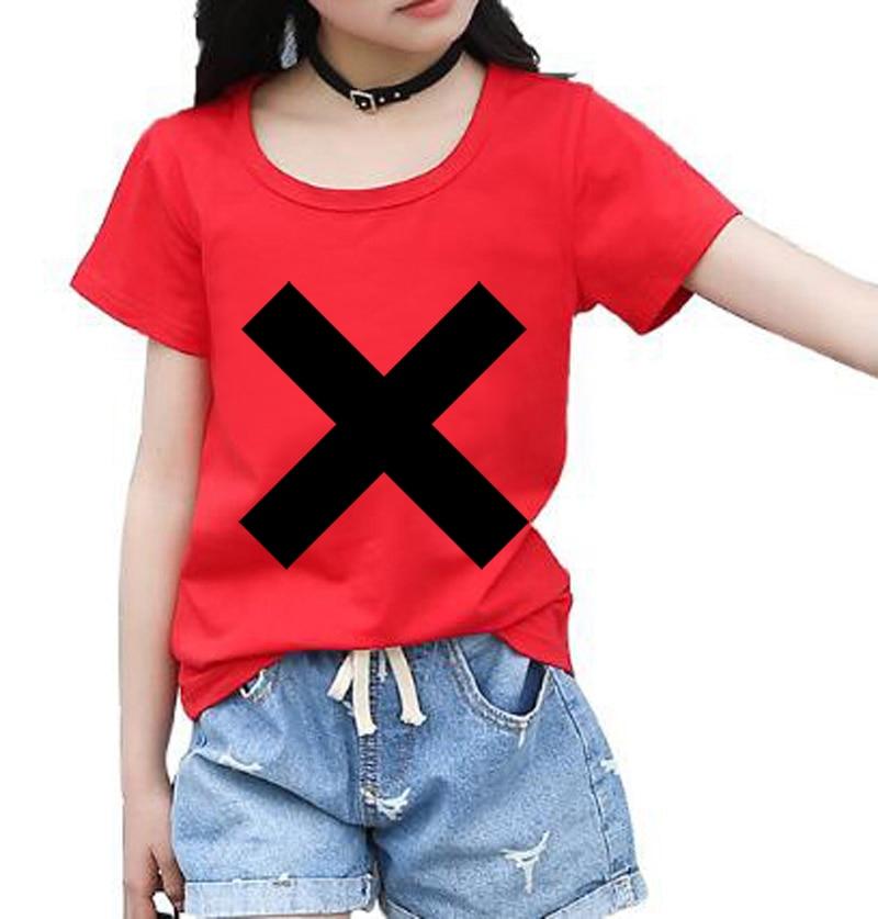 XX Cross Print Tshirt For girl short sleeve Casual t Shirt Top Tees streetwear funny t shirts brand clothing baby girl clothes