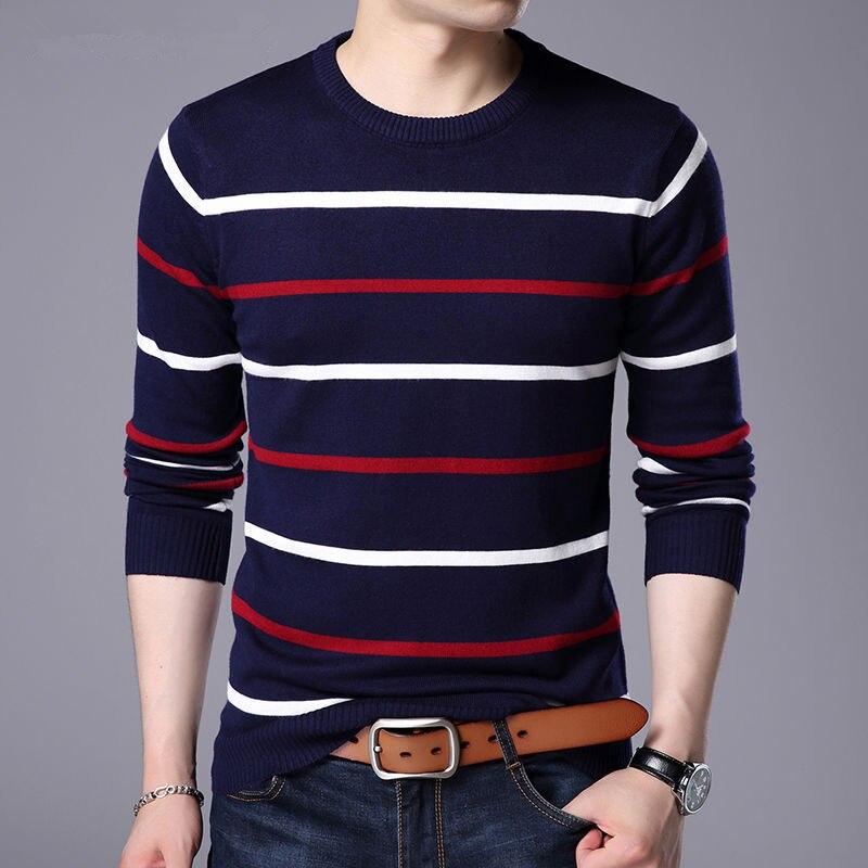 8f08bdd33c94c Однотонные свитеры для мужчин, пуловер с круглым вырезом, мужской свитер с  длинными рукавами,