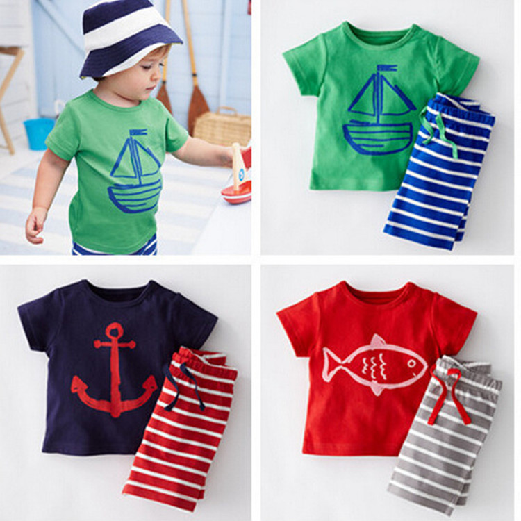 2Pcs Summer Baby Boys Suit Short Sleeve T-shirt Tops + Pants Outfits Kids Toddler Clothes x56 kids baby boys summer t shirt tops stripe beach pants outfits clothes sets 1 5y hot
