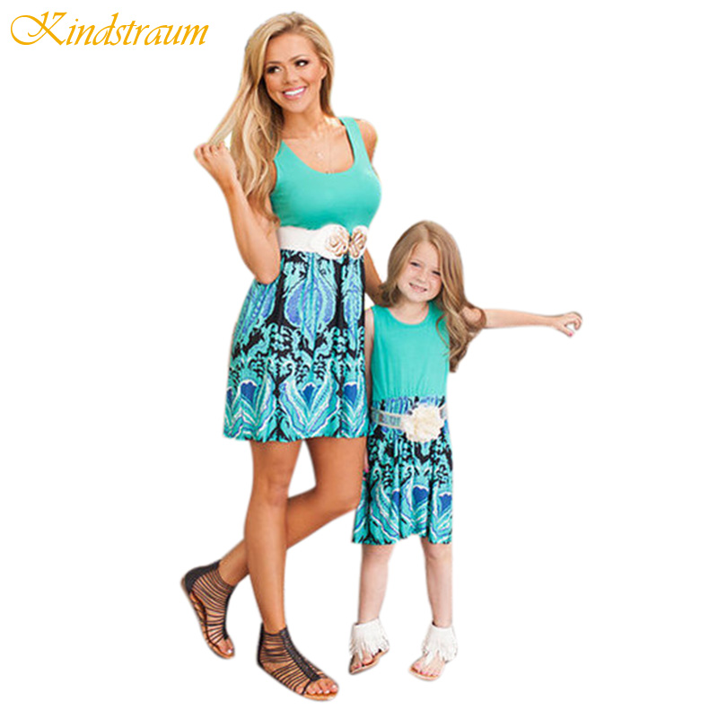 Kindstraum 2017 New Fashion Mother and Daughter Summer Dresses Kids Cotton Sleeveless Dress Family Matching Outwear, MC608