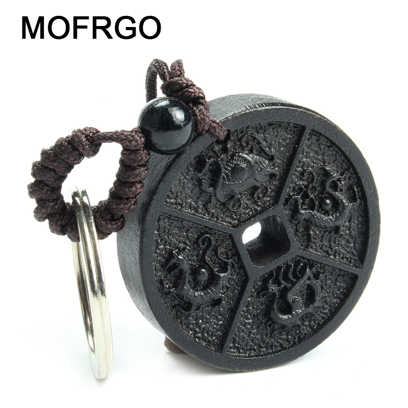 Chinese Traditional Wood Products Safe Lucky Treasure Ebony China's Four Sacred Animal Peace Car Key Ring Pendant Keychain image