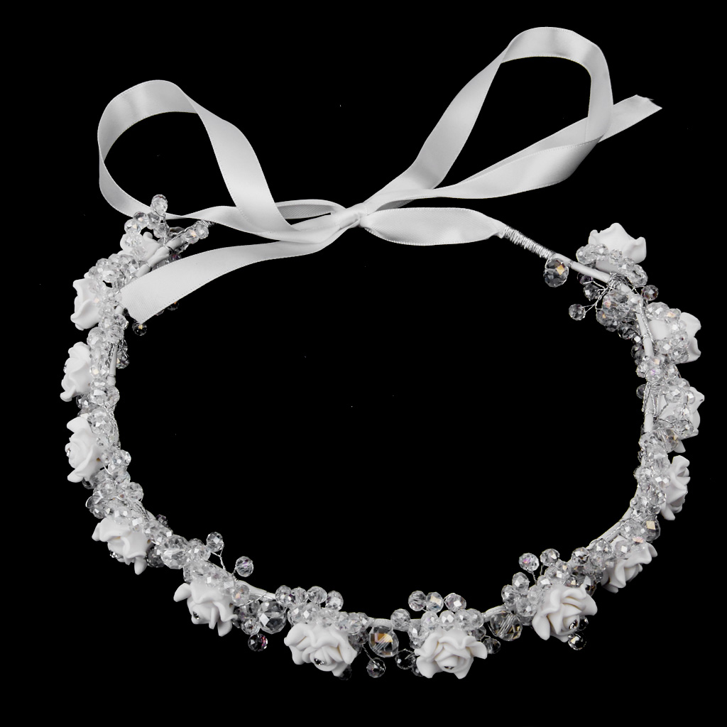 Bridal Wedding Prom Crystal Beaded Clay Flower Headband Hair Band Tiara Crown