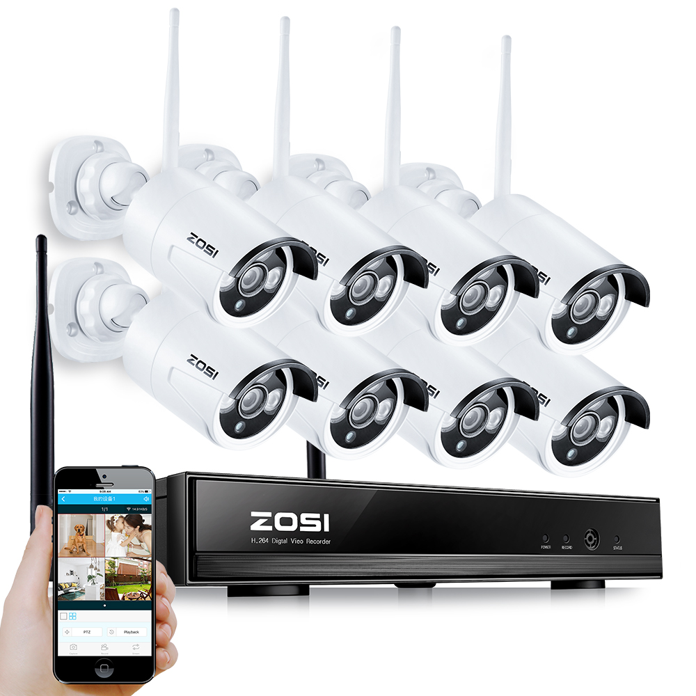 Camera Video Surveillance Wifi Exterieur Zosi 8ch Wireless Nvr Cctv System 960p Ip Camera Wifi