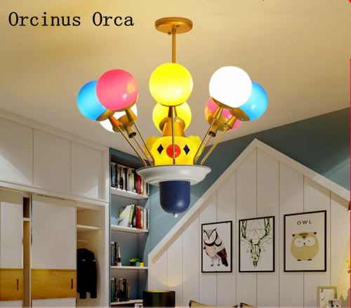 Cartoon Creative Clown Chandelier Boys Girls Bedroom Children's Room Lamp Modern Personality LED Balloon Color Chandelier