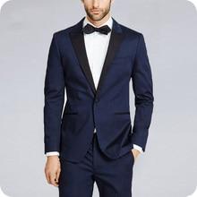 Custom Navy Blue Men Suits Wedding Suits Bridegroom Groom Formal Tuxedos Prom Party Man Blazer Costume Slim Fit Terno Masculino