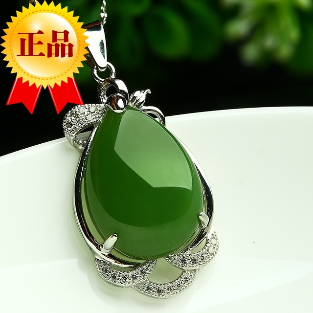 9eb2632ae77fc US $136.08 19% OFF| 100% Genuine Hetian jade Jasper Pendant natural water  spinach green jade egg noodles with 925 Silver Pendant Fashion Style-in ...