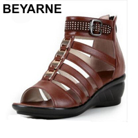 BEYARNE Brand Sandals Casual Shoes Summer Women Sandals Plus Size Open Toe Rhinestone Real Leather Shoes Woman Fashion Sandals
