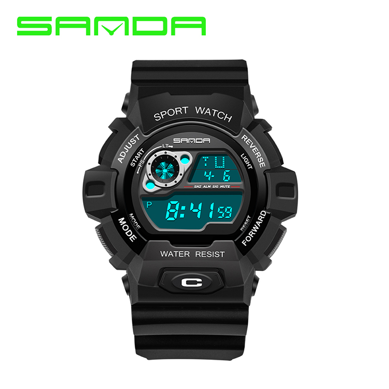 SANDA Sports Watches Digital Waterproof Relogio Alarm Chronograph LED Rubber Swim Military