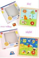 3D Wooden Puzzles For Kids And Children Cartoon Day And Night Jigsaw Learning And Educational Toys