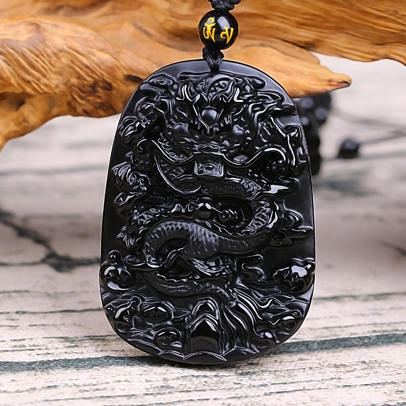 Fine carving Chinese natural black A obsidian carved dragon black pendant Amulet Lucky pendant necklace Fashion Jewelry wonderful handwork natural grade a green jadeite carved turtle crane lucky amulet pendant free necklace certificate jewelry