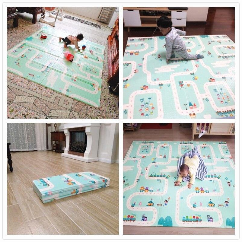 Infantile brillant bébé tapis de jeu pliant XPE ramper Pad 180*200 cm maison Portable extérieur pliant imperméable Puzzle Carprt tapis de jeu - 6