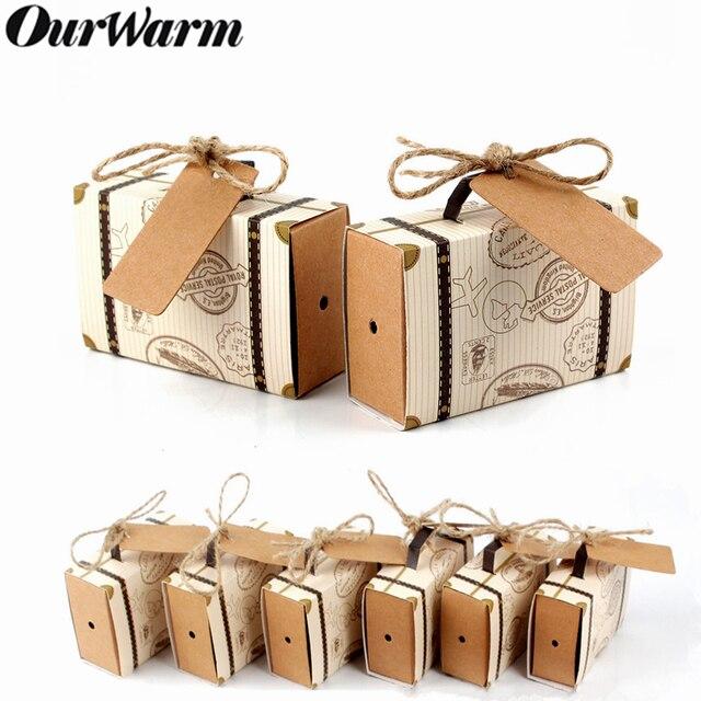 Ourwarm 10 pcs Papel de Presente Dos Doces Do Casamento Caixa de Doces de Viagem Mala Sacos de Chocolate Presentes Para Convidado Favores Do Casamento Decoração Do Partido