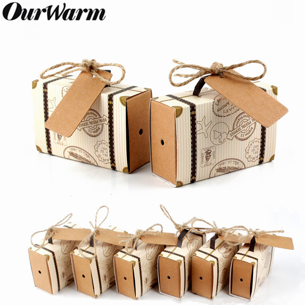 Ourwarm 10pcs Wedding Paper Candy Gift Box Travel Suitcase Chocolate Bag Gifts For Guest Wedding Favor Birthday Party Decoration