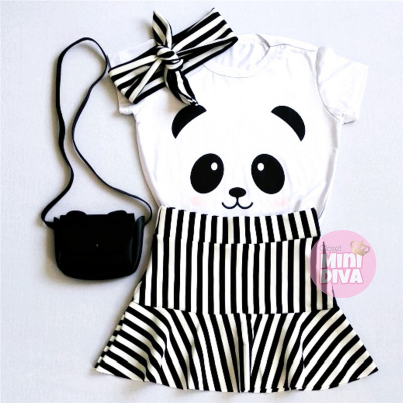Kids Baby Girls Clothes Outfits Set Panda Print Short Sleeve White Tops T-shirt+Black And White Striped Skirt Set