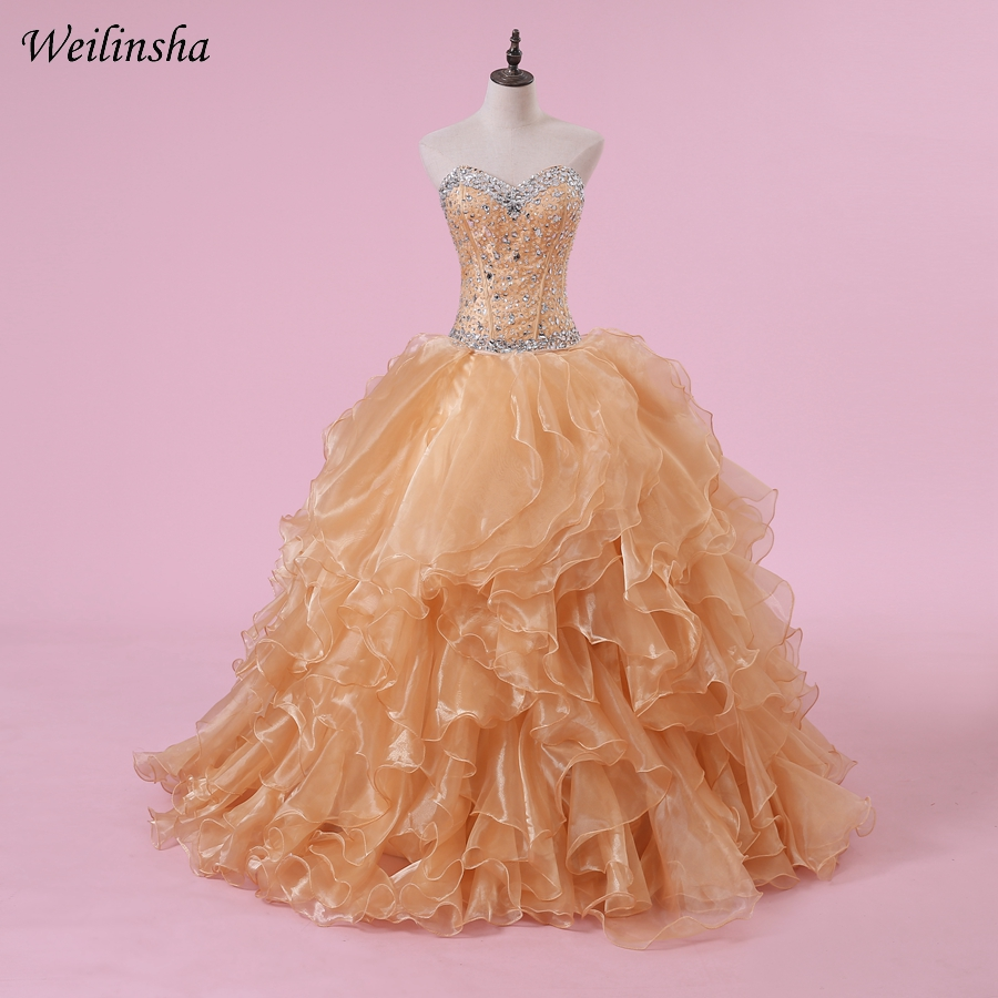 Weilinsha Ball Gown Quinceanera Dresses Sweetheart Sleeveless Beading Sequined Ruffles Sweet 15 Dress Gowns Lace-up Back