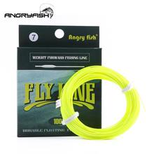 ANGRYFISH WF 5F/6F/7F 100FT Dloating Fly Fishing Line Weight Forward Floating Nylon Backing Line Tippet Tapered Leader Fishing L