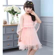 New Girl Dresses 2017 Summer Kids Fashion Dress Shawls Lace Clothes Floral Design Formal Dress For 3-10 years old Girls Clothing