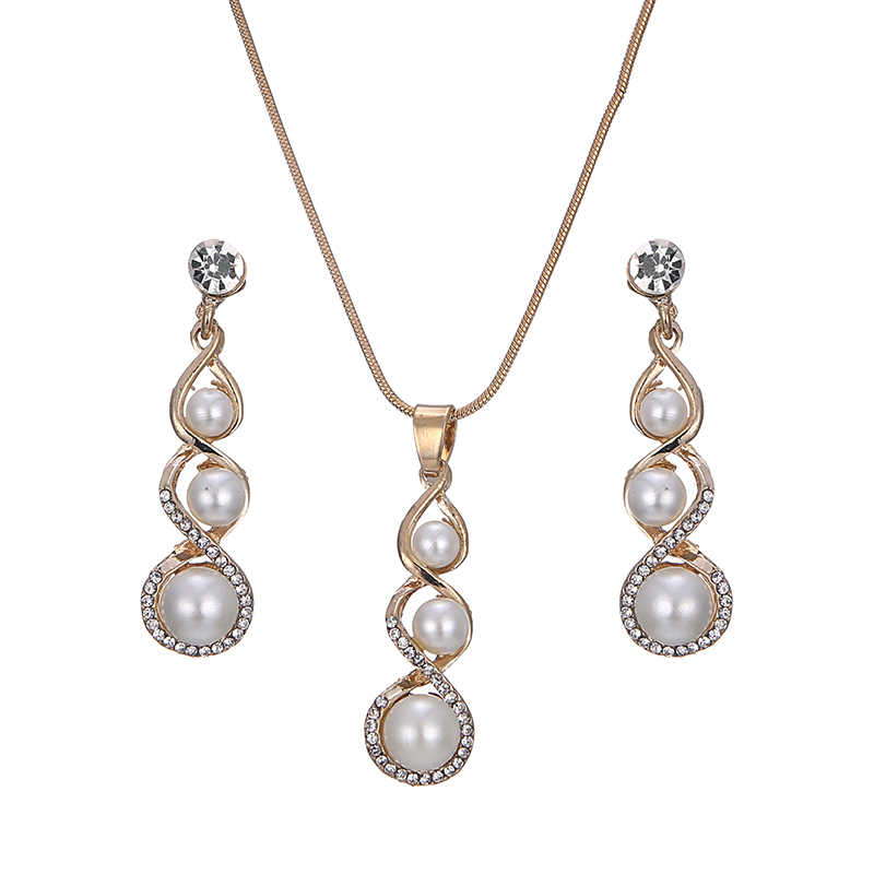 jiayijiaduo Imitation Pearl Jewelry set of gold-color earrings Necklace  for women full rhinestone elegant women