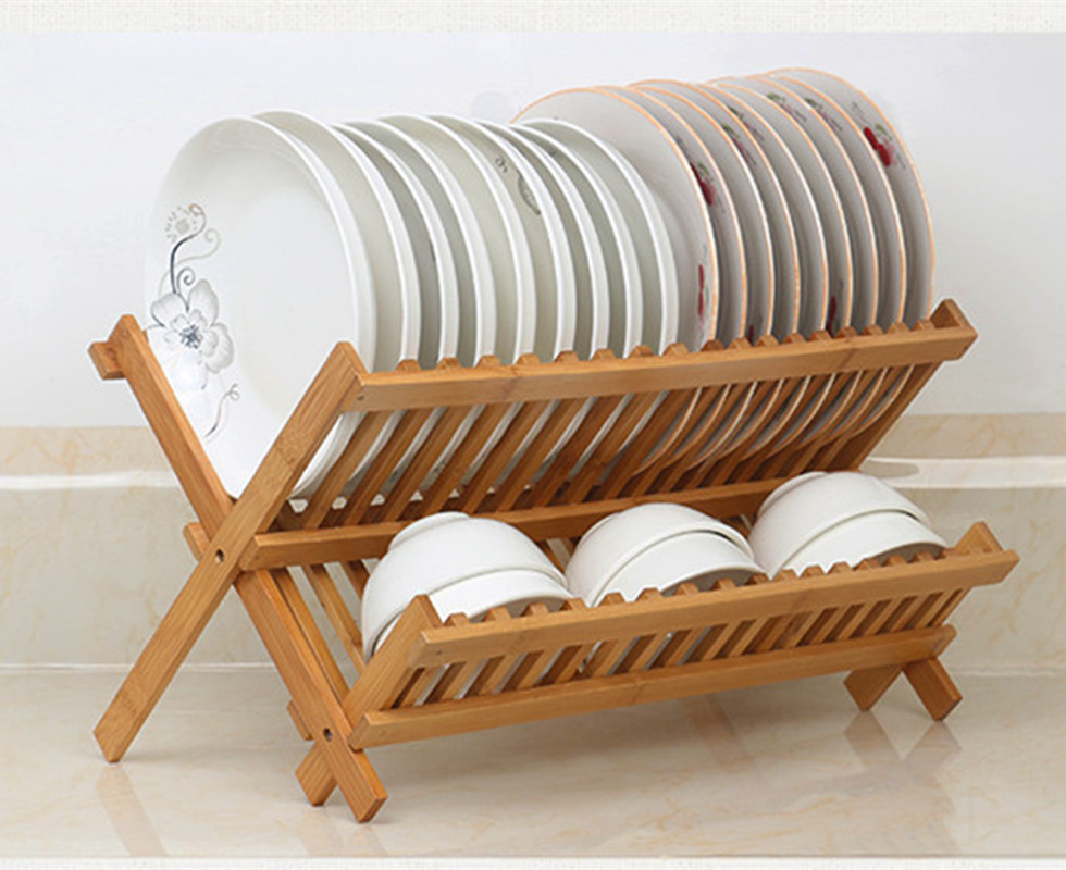 2 Levels Bamboo Folding Dish Rack Dish Drying Rack Holder Utensil Drainer Collapsible Compact Wooden Dinner
