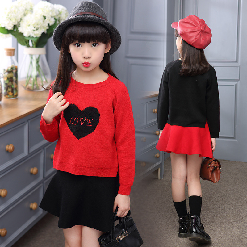 2016 autumn and winter new girls cotton love skirt suit children long sleeve sweater two-piece sets 5 6 7 8 9 10 11 12 years old