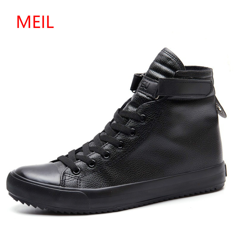 Fashion Black White High Top Sneakers Men Ankle Boots Comfort Lace Up Mens Leather Shoes Casual Hip Hop Shoes For Men Trainers