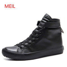 Fashion Black White High Top Sneakers Men Ankle Boots Comfort Lace Up Mens Leather Shoes Casual Hip Hop Shoes for Men Trainers цена 2017