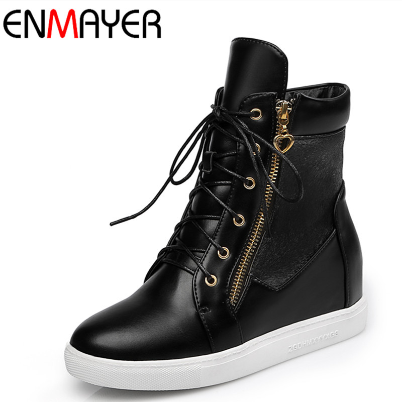 ENMAYER Lace-up New Ankle Boots for Women Autumn& Winter Boots Shoes Woman High Heels Round Toe Platform Shoes Large Size 34-43 enmayla ankle boots for women low heels autumn and winter boots shoes woman large size 34 43 round toe motorcycle boots