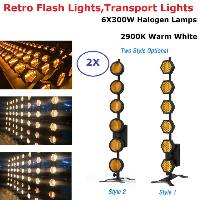 6X300W Warm White Halogen Lamps Retro Flash Lights DMX512 Control Transpot Light Stage Dj Disco Club Lights LED Stage Machine