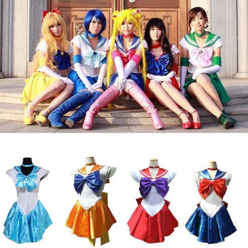 Anime Pretty Soldier Sailor Moon Cosplay Costume Set Princess Halloween For Kids Adult Sailor Moon Costumes Cosplay Dress figure class ultra instinct goku