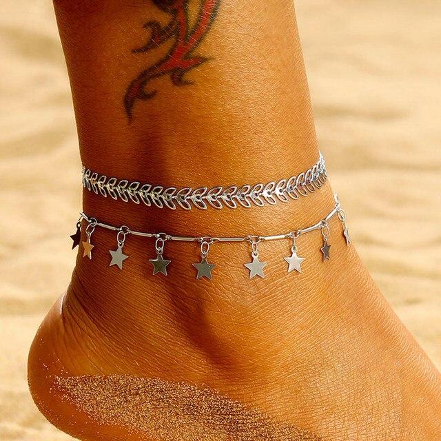ファッションシルバーリーフアンクレットセットボヘミア矢印スター女性の夏のビーチ裸足サンダルフットジュエリーレッグチェーンミックス