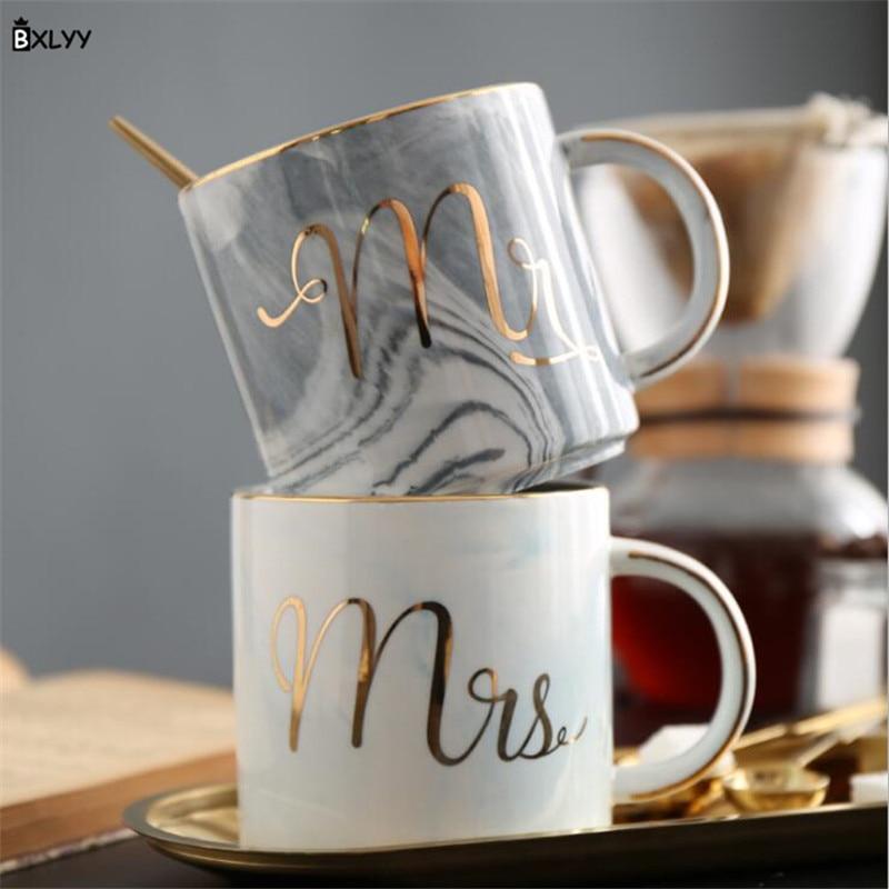 Wedding Gift Mugs: BXLYY Creative Nordic Stone Pattern Mug Couple Wedding