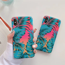 Art flowers green leaf phone case for iPhone 6 6s flower bright floral soft back cover iphone xs max x xr 8 7 plus capa