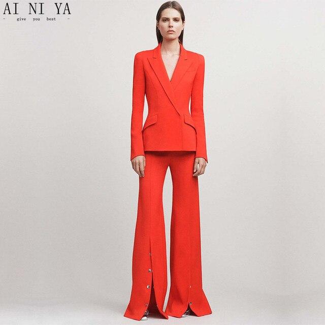 Jacket Pants Red Women Business Suits Blazer Female Office Uniform 2