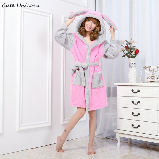 cf1122522f4d Cute Unicorn Unisex Pink Rabbit Gown Cartoon Robes Long Sexy robe Animal  Sleep Robe Women Nightgown femme homewear Bathrobe