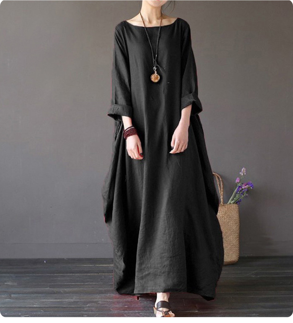 Kaftan Womens Maxi Dress Summer O Neck Long Sleeve Spring Cotton Linen Gown Robe Dresses Plus Size Large Size Dresses 3