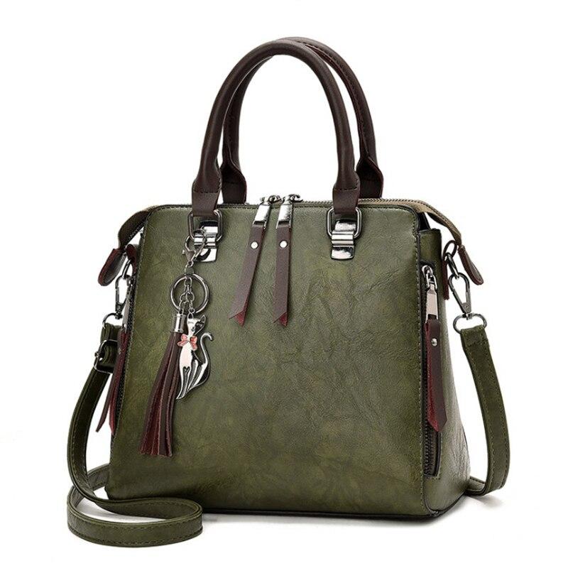 fd0f5f9c82dce Vintage Leder Damen Handtaschen Frauen Messenger Taschen TotesTassel Designer  Umhängetasche Schulter Tasche Boston Hand Taschen Heißer Verkauf