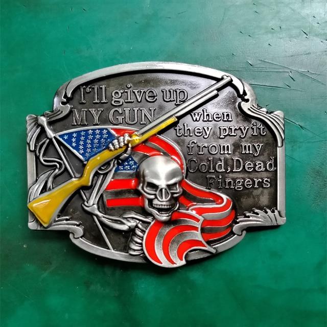 1 piezas bandera americana arma cráneo cinturón de hebilla para hombres y mujeres occidental vaquera cinturón la cabeza