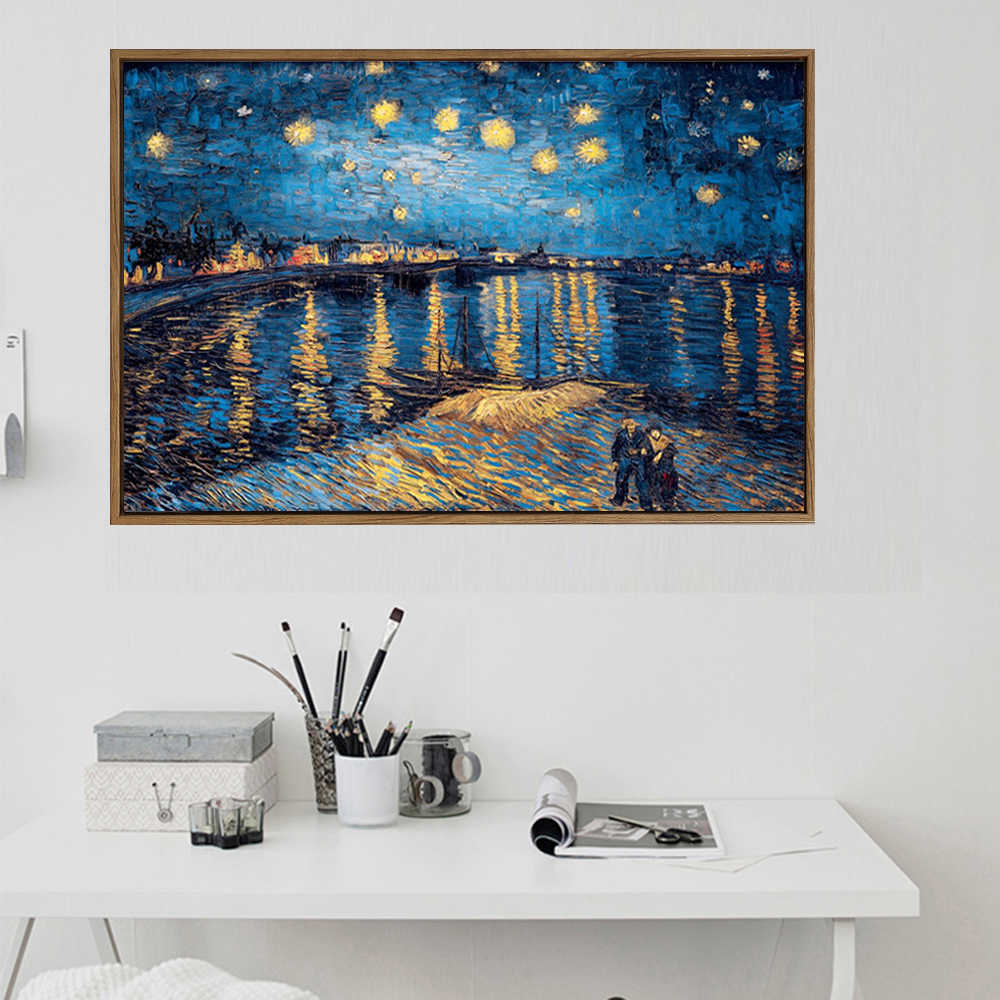 Starry Night Van Gogh Oil Paintings Reproduction Print On Canvas Large Size Landscape Canvas Poster For Living Room Wall Cuadros