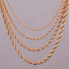"16""18""20""24"" gold rope chain necklace 2mm,3mm,4mm,5mm For pendant rope jewelry findings(China)"