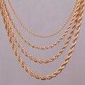 "16 ""18"" 20 ""24"" banhado a ouro colar de corrente corda 2mm, 3mm, 4mm, 5mm Para pingente descobertas jóias corda"