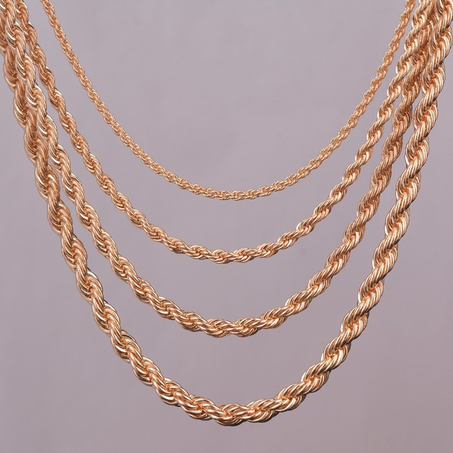 "16""18""20""24"" gold rope chain necklace 2mm,3mm,4mm,5mm For pendant rope jewelry f"