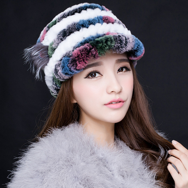 Autumn and winter tide flowers warm ear protection lady hat Rex rabbit fur women hat